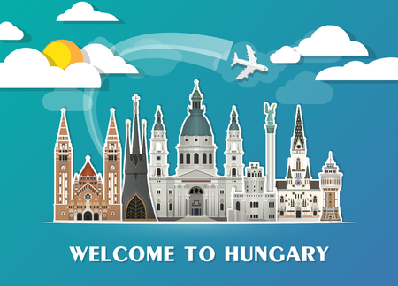 Hungary Landmark Global Travel And Journey paper background. Vector Design Template.used for your advertisement, book, banner, template, travel business or presentation