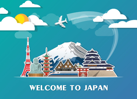 Japan Landmark Global Travel And Journey paper background. Vector Design Template.used for your advertisement, book, banner.