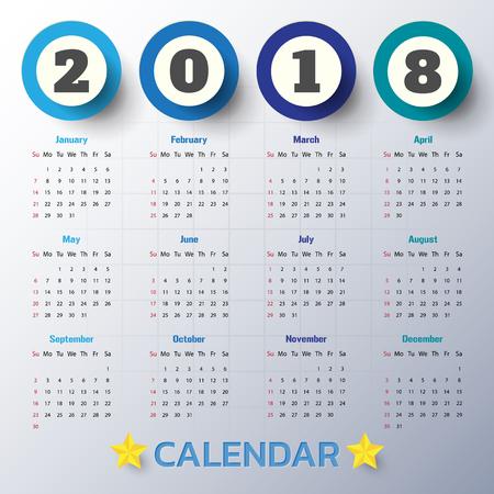 event planner: 2018 Modern calendar template .Vectorillustration.