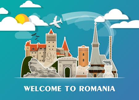 루마니아 랜드 마크 글로벌 여행 및 여행 종이 배경. 일러스트