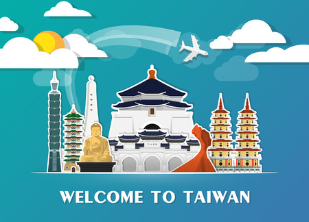 Taiwan Landmark Global Travel And Journey paper background. Stock Illustratie