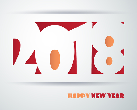 event planner: Happy new 2018 year. Greetings card. Colorful design. Vector illustration.
