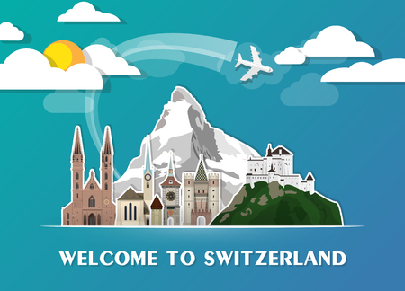 スイス画期的なグローバルな旅行と旅の用紙の背景。ベクター デザインのテンプレートです。