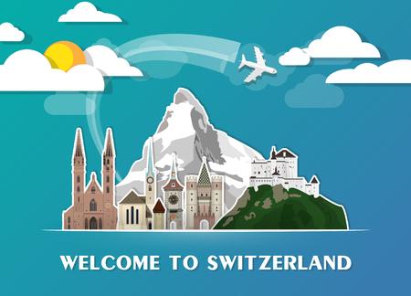 스위스 랜드 마크 글로벌 여행 및 여행 종이 배경. 벡터 디자인 템플릿입니다. 일러스트