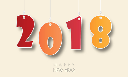 Happy new 2018 year. Greetings card. Colorful design. Vector illustration.