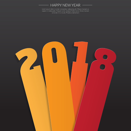 event planner: Happy new 2018 year. Greetings card. Colorful design. Vector illustration Illustration