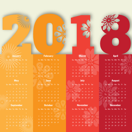 2018 Modern calendar template .Vector/illustration.