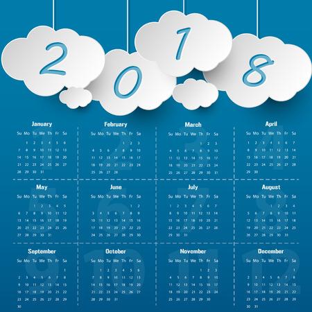 2018 Modern calendar template .Vector/illustration. Illustration