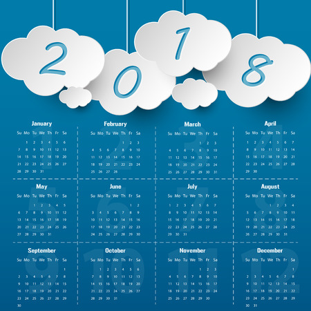 2018 Modern calendar template .Vectorillustration.