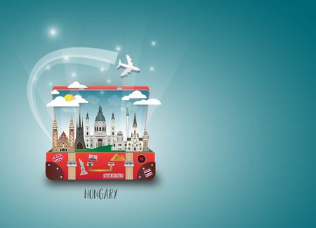 Hungary Landmark Global Travel And Journey paper background. Vector Design Template.used for your advertisement, book, banner, template, travel business or presentation.