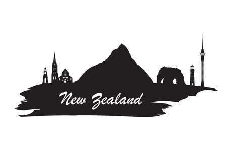 New Zeland Landmark Global Travel And Journey paper background. Vector Design Template.used for your advertisement, book, banner, template, travel business or presentation.