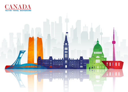 Canada Landmark Global Travel And Journey Paper Background Vector Design Templateused For Your