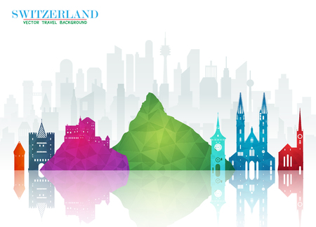 Switzerland Landmark Global Travel And Journey paper background. Vector Design Template.used for your advertisement, book, banner, template, travel business or presentation. Illustration