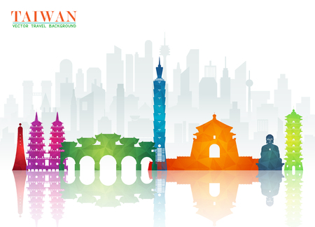 Taiwan Landmark Global Travel And Journey paper background. Vector Design Template.used for your advertisement, book, banner, template, travel business or presentation. Stock Illustratie