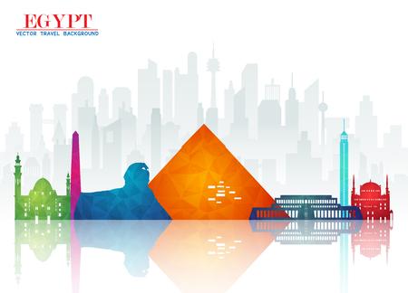 Fondo de papel de Egipto Landmark Global Travel And Journey. Plantilla de diseño vectorial utilizado para su anuncio, libro, banner, plantilla, negocios de viajes o presentación.