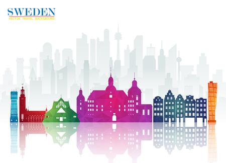 Suède Landmark Global Travel And Journey papier fond. Modèle de conception de vecteur utilisé pour votre publicité, livre, bannière, modèle, entreprise de voyage ou présentation.