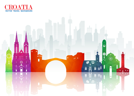 Croatia Landmark Global Travel And Journey paper background. Vector Design Template.used for your advertisement, book, banner, template, travel business or presentation