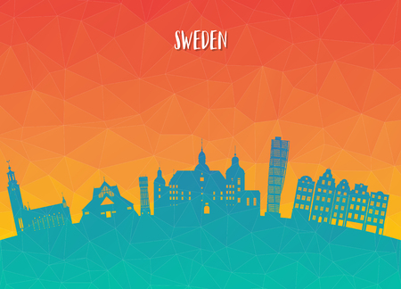 Sweden Landmark Global Travel And Journey paper background. Vector Design Template.used for your advertisement, book, banner, template, travel business or presentation.