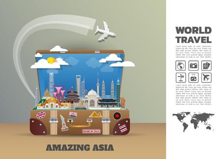 Asien berühmte Landmark Papierkunst. Globale Reise- und Reise-Infografik. Vector Flat Design Template.vector / Illustration.Kann für Ihr Banner, Geschäft, Bildung, Website oder jedes Kunstwerk verwendet werden.