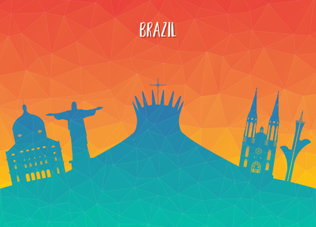 Brazil Landmark Global Travel And Journey paper background. Vector Design Template.used for your advertisement, book, banner, template, travel business or presentation