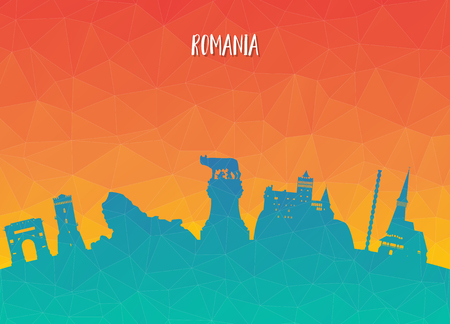 Romania Landmark Global Travel And Journey paper background. Vector Design Template.used for your advertisement, book, banner, template, travel business or presentation.