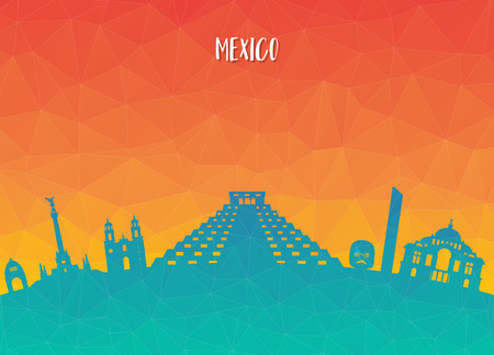 Mexico Landmark Global Travel And Journey paper background. Vector Design Template.used for your advertisement, book, banner, template, travel business or presentation. Ilustração