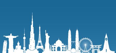 Wereldberoemde Oriëntatiepuntpapierkunst. Wereldwijde reizen en reis Infographic. Vector platte ontwerpsjabloon. Vector / illustratie. Kan worden gebruikt voor uw banner, bedrijf, onderwijs, website of elk ander kunstwerk. Vector Illustratie