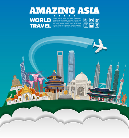 Asia famous Landmark paper art. Global Travel And Journey Infographic. Vector Flat Design Template.vectorillustration.Can be used for your banner, business, education, website or any artwork.