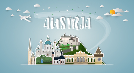 Austria Landmark Global Travel And Journey paper background. Vector Design Template.used for your advertisement, book, banner, template, travel business or presentation