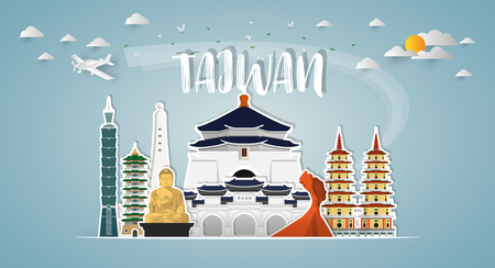 Taiwan Landmark Global Travel And Journey paper background. Vector Design Template.used for your advertisement, book, banner, template, travel business or presentation