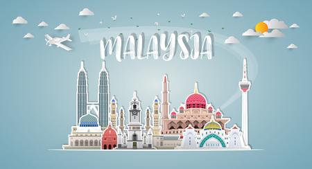 Malaysia Landmark Global Travel & Journey Papier Hintergrund. Vector Design Template.verwendet für Ihre Werbung, Ihr Buch, Ihr Banner, Ihre Vorlage, Ihr Reisegeschäft oder Ihre Präsentation.