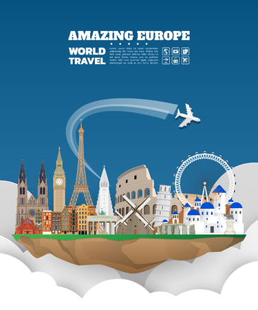 Landmark Global Travel And Journey paper background. Vector Design Template.used for your advertisement, book, banner, template, travel business or presentation Stock Illustratie