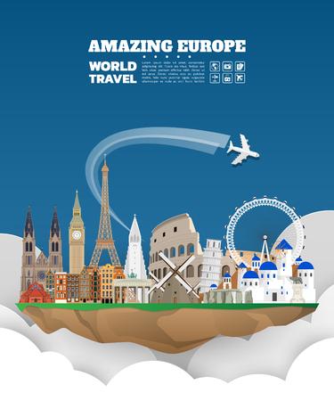 Oriëntatiepunt wereldwijde reis- en reisdocument achtergrond. Vector ontwerpsjabloon. Gebruikt voor uw advertentie, boek, banner, sjabloon, reisorganisatie of presentatie Vector Illustratie