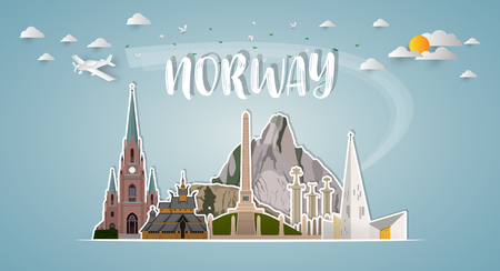 norway Landmark Global Travel And Journey paper background. Vector Design Template.used for your advertisement, book, banner, template, travel business or presentation.
