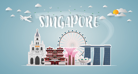 Singapore Landmark Global Travel And Journey paper background. Vector Design Template.used for your advertisement, book, banner, template, travel business or presentation.