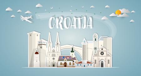 Croatia Landmark Global Travel & Journey Papier Hintergrund. Vector Design Template.verwendet für Ihre Werbung, Buch, Banner, Vorlage, Reisegeschäft oder Präsentation