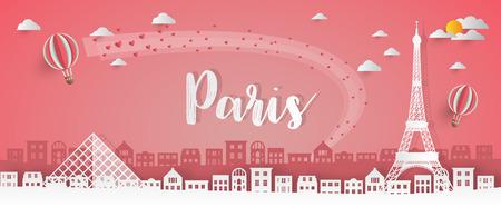 France Landmark Global Travel And Journey papier fond. Modèle de conception de vecteur utilisé pour votre publicité, livre, bannière, modèle, entreprise de voyage ou présentation.