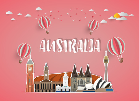 Australia Landmark Global Travel And Journey paper background. Vector Design Template.used for your advertisement, book, banner, template, travel business or presentation