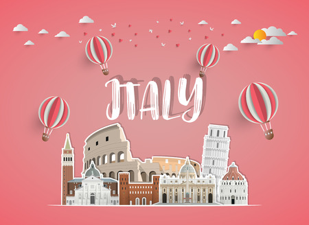 italy Landmark Global Travel And Journey paper background. Vector Design Template.used for your advertisement, book, banner, template, travel business or presentation.