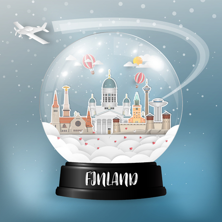 Finland Landmark Global Travel And Journey paper background. Vector Design Template.used for your advertisement, book, banner, template, travel business or presentation. Çizim