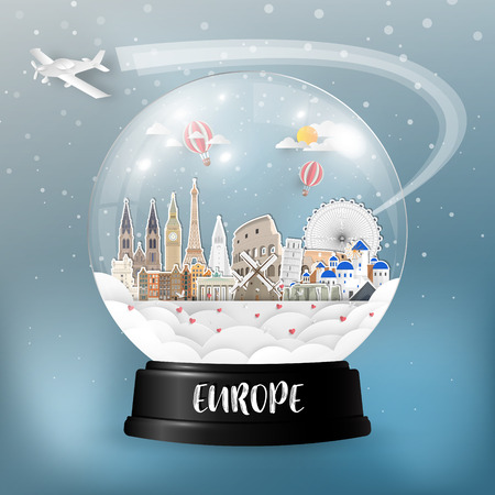 Europe Landmark Global Travel And Journey paper background. Vector Design Template.used for your advertisement, book, banner, template, travel business or presentation.