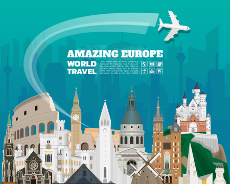 Europe famous Landmark paper art. Global Travel And Journey Infographic. Vector Flat Design Template.vector/illustration.Can be used for your banner, business, education, website or any artwork.