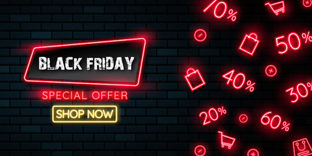Black friday neon light banner.used for shop, online shop, promotion and advertising. vector illustration.