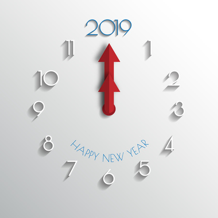 Frohes neues Jahr 2019. Grußkarte. Buntes Design. Vektor-Illustration.