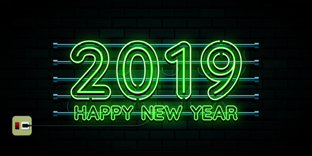 Happy new year 2019. Greetings card. Colorful neon glow in the drak . Vector illustration.