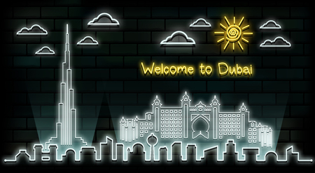 Dubai Travel And Journey neon light background. Vector Design Template.used for your advertisement, book, banner, template, travel business or presentation. Иллюстрация