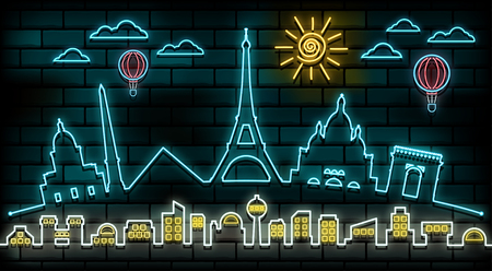 France and Paris Travel And Journey neon light background. Vector Design Template.used for your advertisement, book, banner, template, travel business or presentation. Illustration