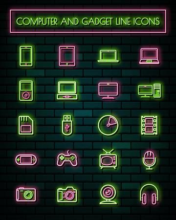 Retro Gatget thin neon glowing line icons set.vector illustration. Illustration