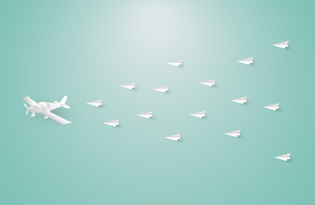 Paper airplane among white origami airplanes, leadership, teamwork, motivation, stand out of the crowd concept, vector eps10 illustration.