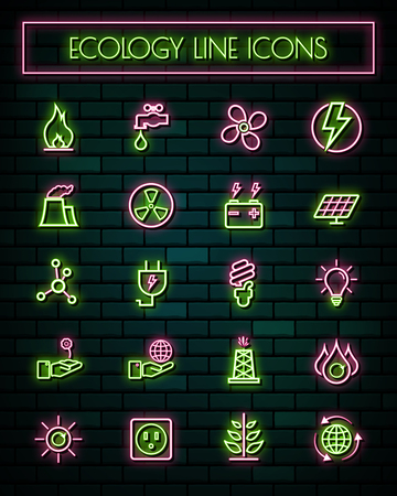 Energy thin neon glowing line icons set.vector illustration.